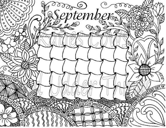 September Doodled Calendar Coloring page