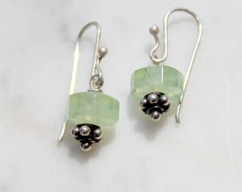 sterling silver prehnite gem bead earrings on handmade sterling silver french earwires -total length when worn one inch