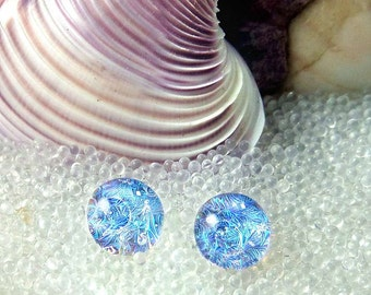 Translucent Mermaid Tears Blue Opal Dichroic Glass Earrings