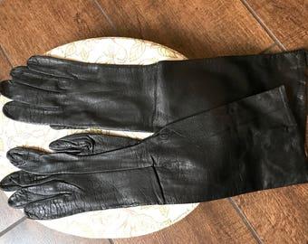 Vintage leather long gloves