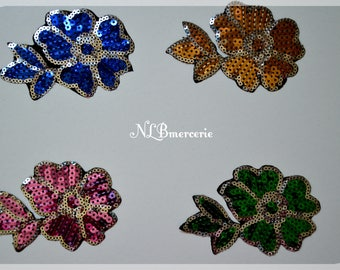 Set of 3 iron-on applications in the shape of flowers adorned with sequins