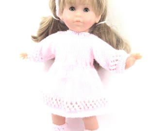 DRESS with long sleeves for doll - pink sweets