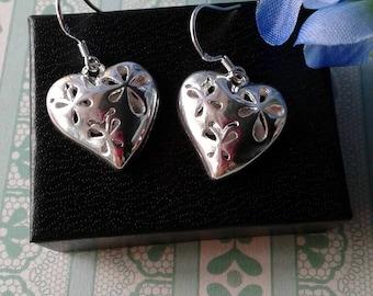 Silver Puffed Heart Earrings