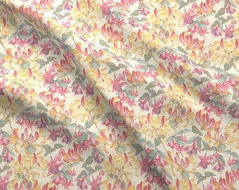 Tangled Garden Fabric - Tangled Garden By Gail Mcneillie - Watercolor Floral Home Decor Cotton Fabric By The Yard With Spoonflower