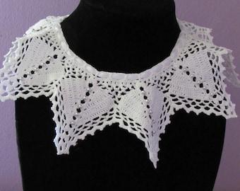 Free Shipping White Collar Star Necklace Filet Handmade Crochet Doily