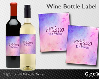Fabulous Purple Flowers Party Theme Style Wine Bottle Label - Digital or Printed - 30 - 40 - 50 - 60 - 21 - Any number - Shower