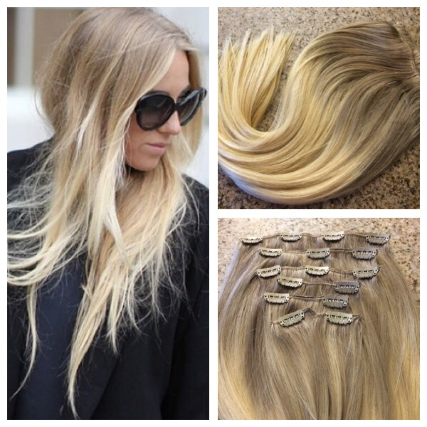 5 Star Ombre Cuticle Remy Human Hair Clip In Weft Hair Extensions