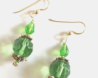 Green Beaded Dangle Earrings, Handmade Faceted Green Glass Bead Statement Earrings, Gold Filled Jewelry Findings