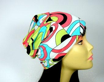 Retro Slouchy Beanie Boho Spring  Slouch Hat Boho Hat Slouch Hat 70's Print Slouchy Hat Womans Lightweight Slouchy Hat for Alopecia Custom