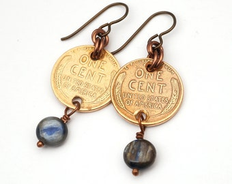 Wheatie penny earrings, blue kyanite beads, US coins, copper dangle French hook