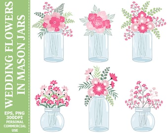 Wedding Flowers in Mason Jars Clip Art - Jars, Wedding, Roses, Green, Bouquets Clip Art