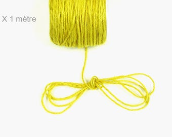 Hemp yellow 2 mm leather cord