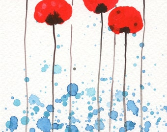 Watercolor Painting: Watercolor Flower Painting -- Art Print --  Bright and Sunny Day -- Red Flowers -- 5x7