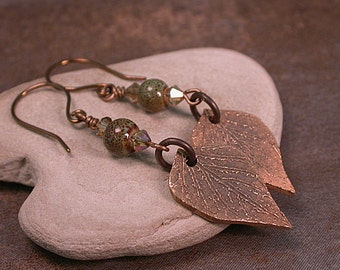 Bronze Metal Clay Jewelry, Rustic Bronze Earrings, Leaf Charms, Divine Spark Designs, SRA