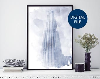 Rockefeller Center, New York Watercolour Print Wall Art | Print At Home | Digital Download File