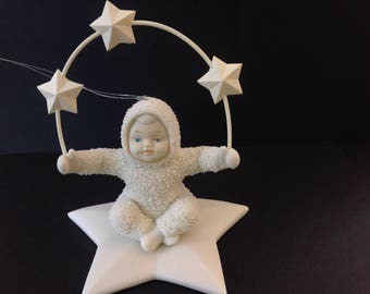 Retired Snowbabies Juggling Stars in the Sky Bisque Ornament  Dept 56 #6867-5