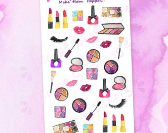 Watercolor Makeup Lovers Planner Stickers / Nailpolish Lipstick Mascara Eyeshadow Beauty Planner Stickers