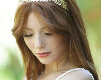 Gold leaf Headband, Gold Leaf Crown, Grecian Crown, Laurel Headband, Grecian Headpiece, Boho Bridal Headband, Bridal Headpiece, Woodland