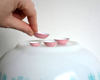 Pink Pyrex Mixing Bowls Set - Dollhouse Miniature Kitchen Set of 4 Nesting Bowls