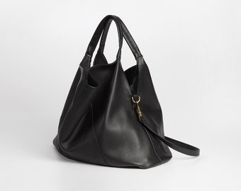 Large Black Grained Leather Tote, Filly Tote, Leather bag, Carryall black Leather tote
