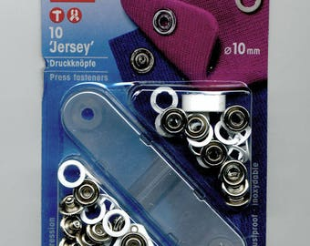 """10 buttons rings pressure """"Jersey"""" 10 mm white"""