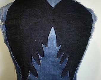 Denim Vest -7 - Blue fade with Dark Denim Angel Wings - Inspired by The Walking Dead's Daryl - Reused Recycled Re-purposed - 7