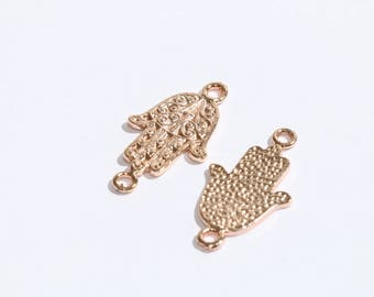 30mm Gold Rose Hamsa  Charm,Hamsa hand Charm,Hamsa Charms,Hamsa,Hand of Fatima SKU/RS11