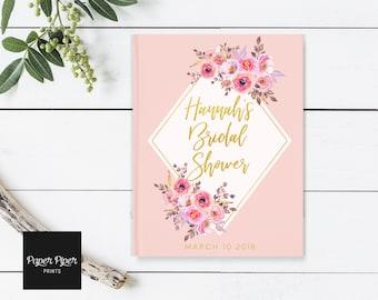 Bridal Shower Guest Book, Blush Shower Guest Book, Pink Peony Guest Book, Gold and Blush Guest Book, Bridal Shower Book, Baby Shower Book