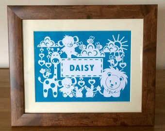 Personalised cute animals paper cut in wood effect frame
