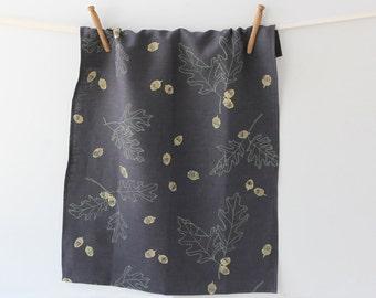 SALE - 50% OFF - Linen Tea Towel - Dark Oak & Acorn