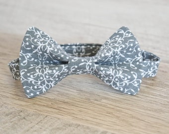 Grey Paisley Bow Tie - Grey Bow Tie - Paisley Bow Tie - Boys Grey Bow Tie - Ring Bearer Bow Tie - Groomsmen Bow Tie - Gray Paisley Bow Tie