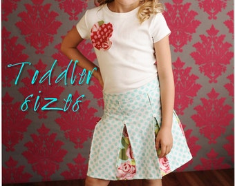 Schoolgirl Pleated Skirt PDF Pattern Tutorial, Toddler Girl 2T through 4T