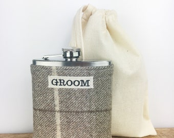Groom Hip Flask - Gift for Groom - Groom Gift - Wedding Gift - Wedding Hip Flask - Wedding Flask - Tweed Flask - Scottish Wedding Gift