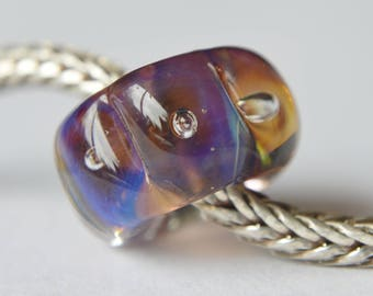Unique Handmade Lampwork Glass European Charm Bead with Silver Glass - SRA - Fits all charm bracelets - Silver Core Options