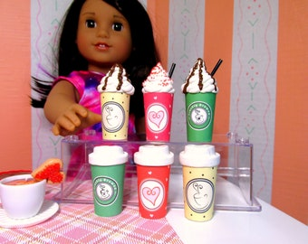 """American Food 18"""" Girl Doll Coffee Cups Take Out Coffee with Lid or Whipped Cream Doll Beverage Drink Accessory Bakery Cafe Coffee Starbucks"""