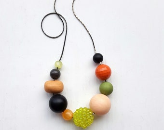 sashimi necklace - remixed vintage beads - bold, contrasting colors - salmon, peach, lime, green, black