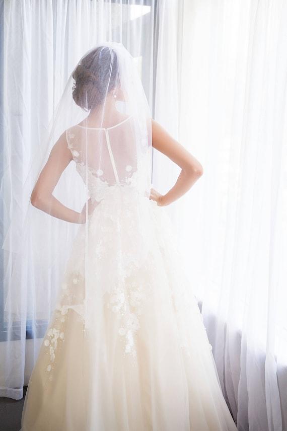 Fingertip Length Veil, Wedding Veil, Bridal Veil, Two Tier Veil, Blusher Veil, Two Tier Bridal Veil, Pink Veil, Knee Length Veil EMMALINE