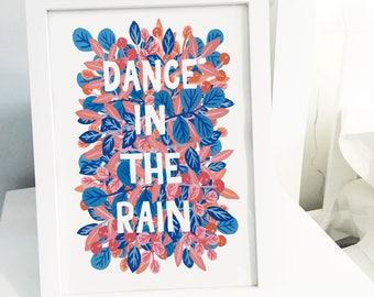 Dance In The Rain A4 Art Print