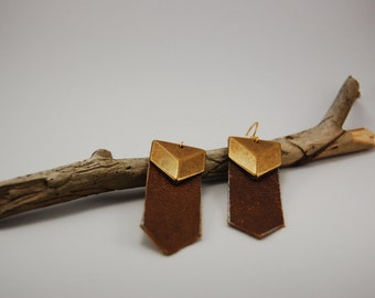 Leather and Brass Chevron Earrings
