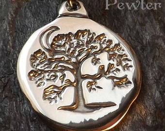 Winter Oak - Pewter Pendant - Nature Jewelry, Forest, Tree of Life Necklace, Jewelry - Poured with care by hand in America