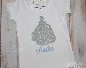Cinderella Shirt, Princess Shirt, Cinderella Ruffle shirt, Cinderella Birthday Shirt, Girl Birthday shirt, sew cute creations