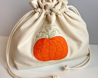 Pumpkin knitting project bag (free motion embroidered appliqué)