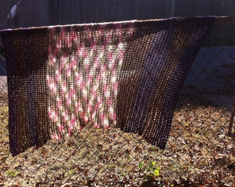 Purple and Chocolate Brown Afghan, Crib Size Afghan, Ready to Ship, Childs Bedding, Crochet Afghan, Afghan, Bed Throw, Crochet Blanket