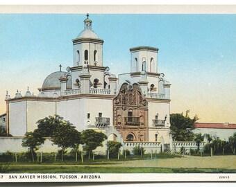 Vintage Post Card, San Xavier Mission, Tucson Arizona