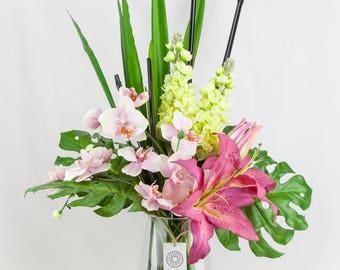 Floralistic - Pink Lillies and Orchids Artificial Flower Arrangement