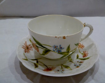 victorian teacup & saucer hand painted with flowers by Ms. Rice in 1893