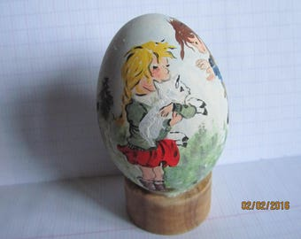 painted goose egg: two little girls