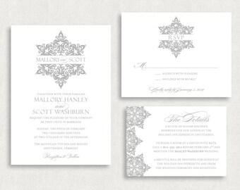 Wedding Invitation and RSVP Card (Snowflakes) - Digital Files or Deposit on Printing (Customizable Snowflake/Winter Design)