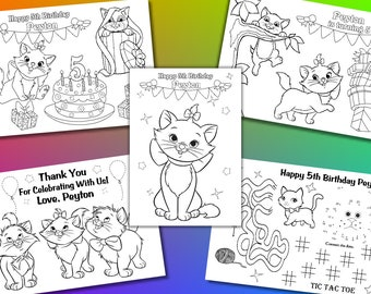 Kitty Birthday Party Favor, Kitty coloring pages, PDF file