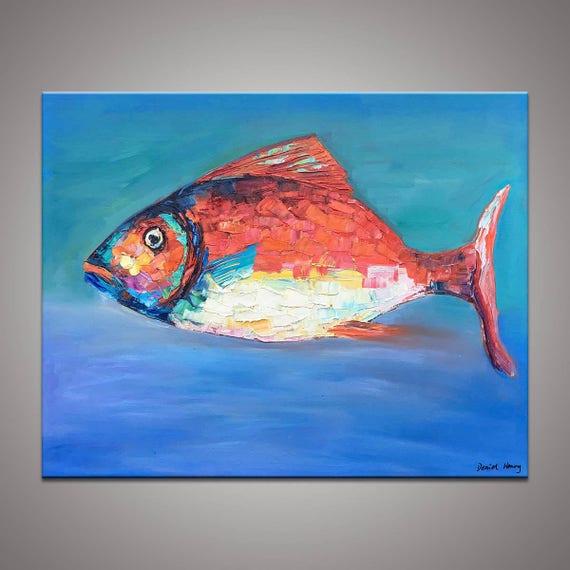 Fisch Öl Gemälde zeitgenössische Kunst große Leinwand Kunst